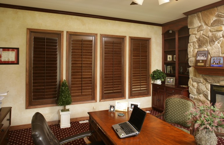 Hardwood plantation shutters in a Salt Lake City home office
