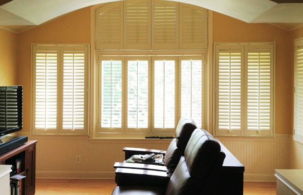 Salt Lake City plantation shutters in home theater