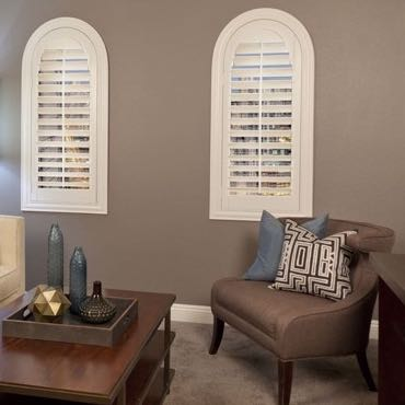 Salt Lake City family room arched shutters.