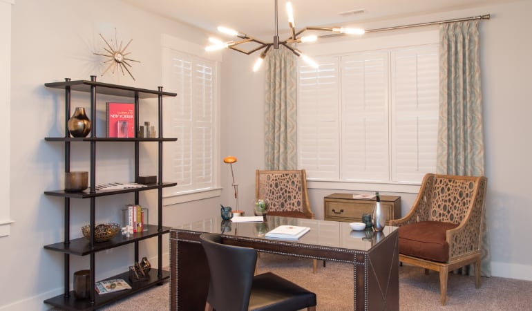Salt Lake City home office with plantation shutters.
