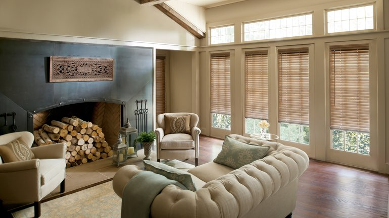 Salt Lake City fireplace with blinds