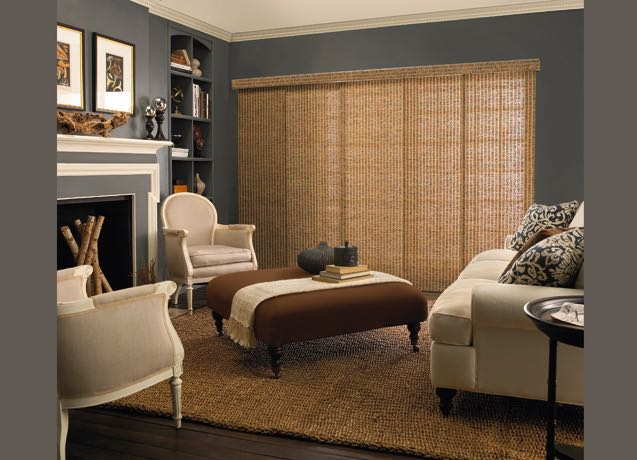 Salt Lake City living room wide vertical blinds
