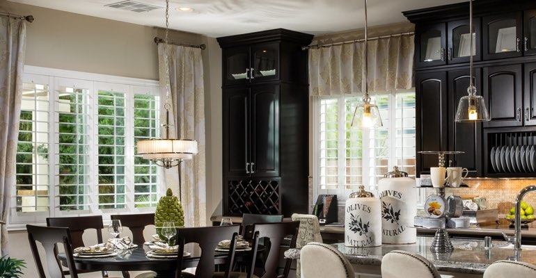 Salt Lake City kitchen dining room with plantation shutters.