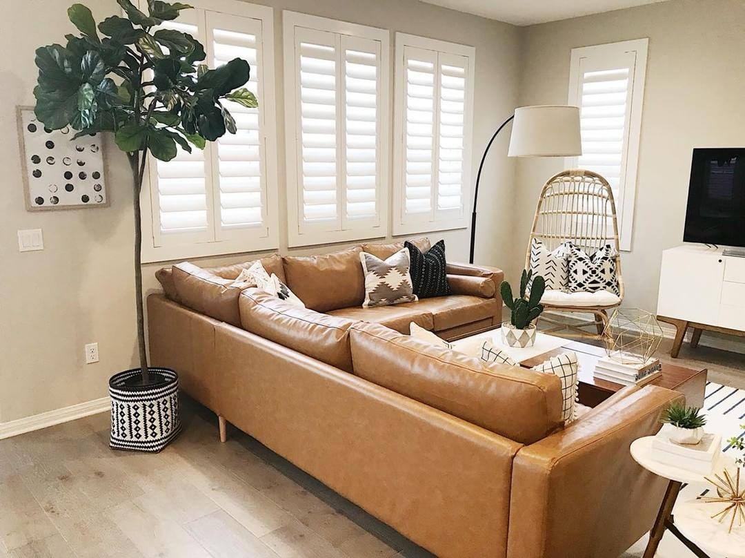 Cozy living room with our Polywood shutters in Salt Lake City.