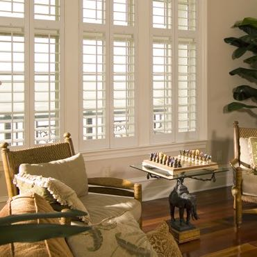 Salt Lake City living room interior shutters.