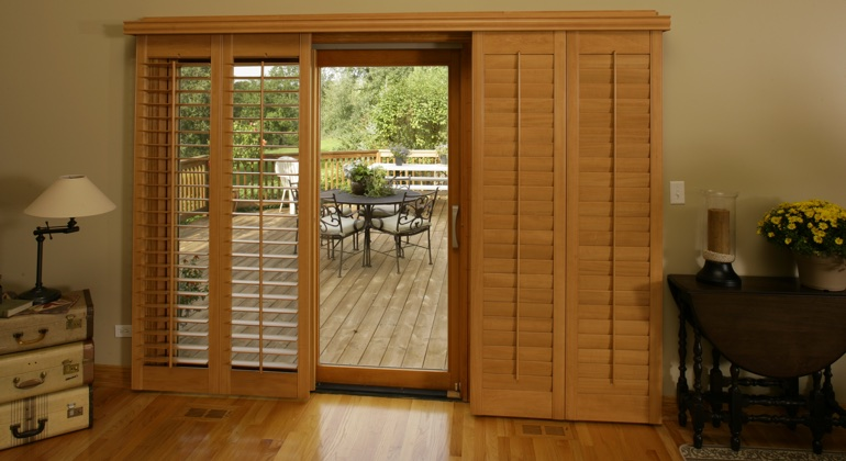 Salt Lake City wood shutter sliding door