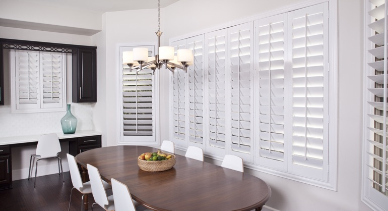 plantation shutters in Salt Lake City dining room