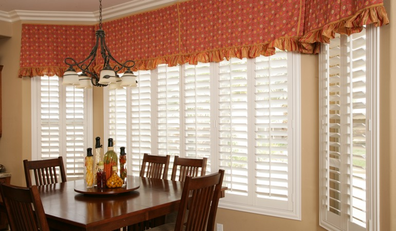 White shutters in Salt Lake City dining room.