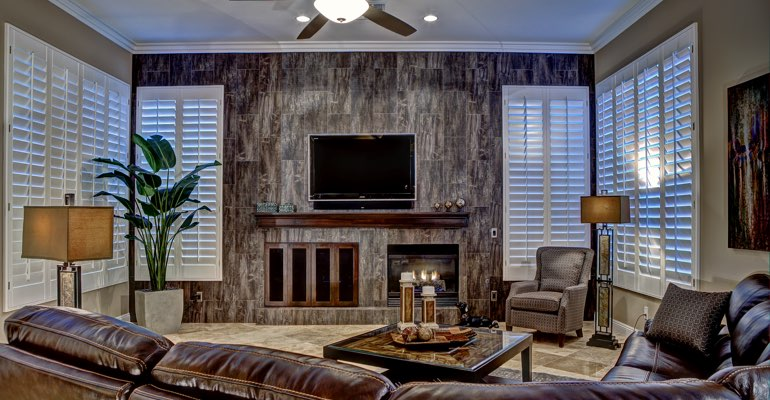 Salt Lake City living room with shutters