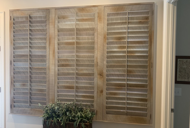 Closed reclaimed wood shutters in Salt Lake City