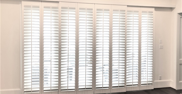 Plantation shutters on sliding doors
