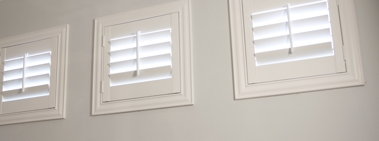 Small Windows in a Salt Lake City Garage with Plantation Shutters