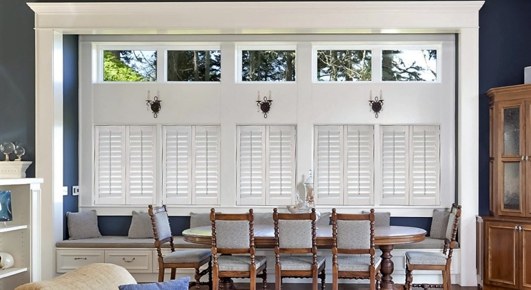 Shut classic plantation shutters in Salt Lake City great room.