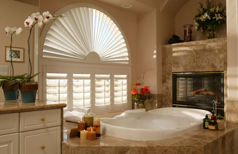 Sunray shutters in a Salt Lake City bathroom.