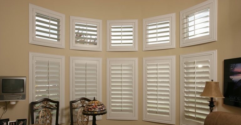 Bay window shutters Salt Lake City home office