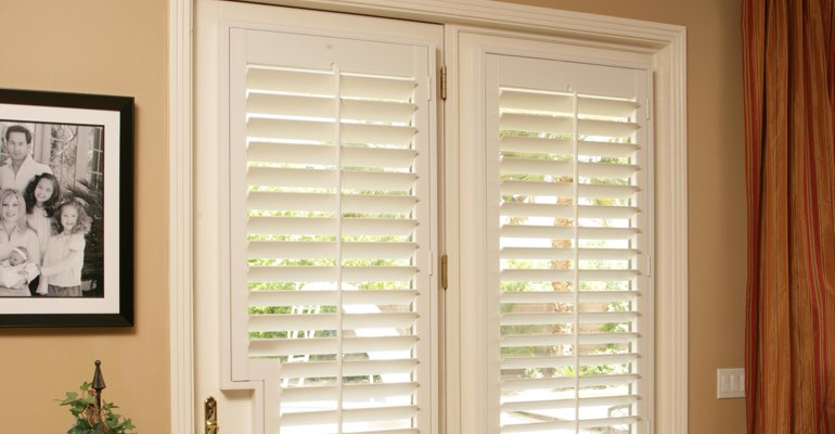 Salt Lake City french door white shutters