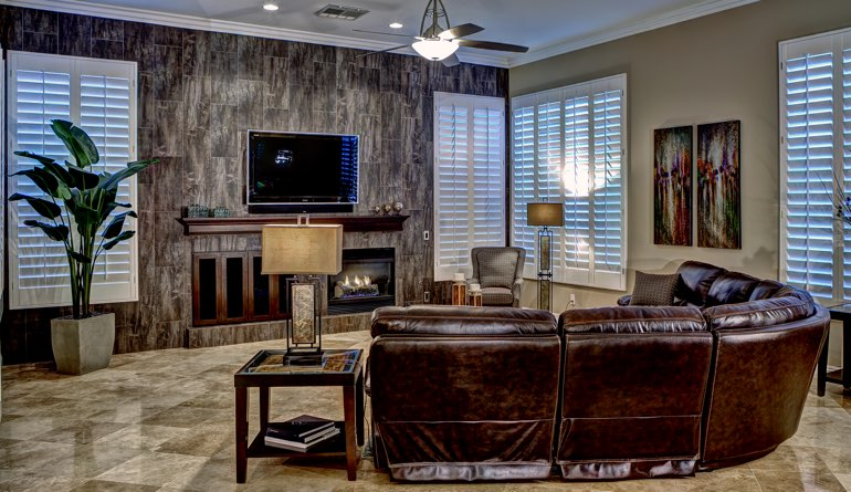 Plantation Shutters In A Salt Lake City Living Room.