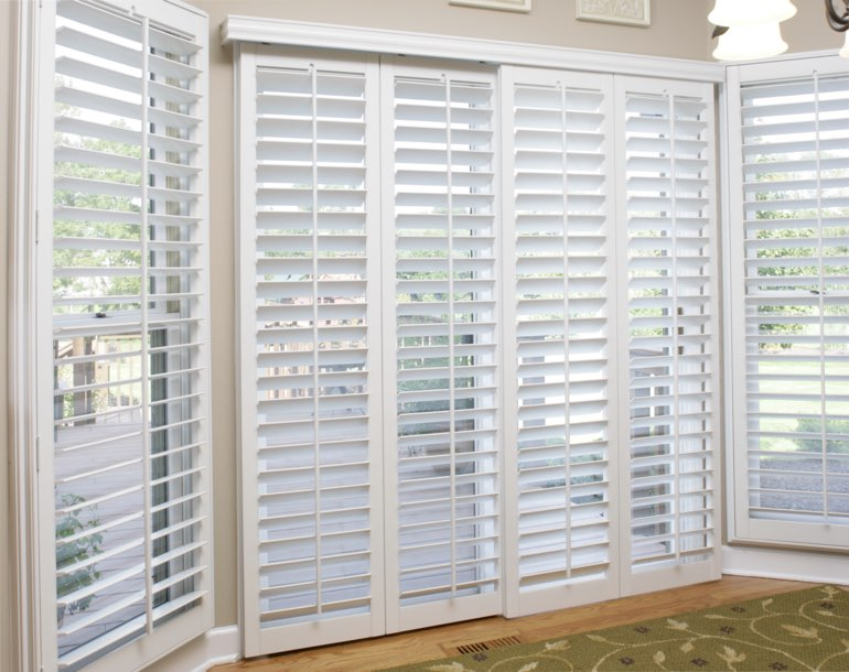 Sliding glass door with plantation shutters Salt Lake City